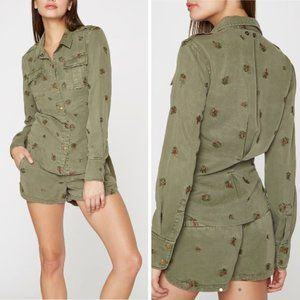 Pam & Gela S Floral Embroidered Snap Buttons Shirt